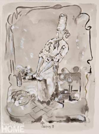 Black and white painting of chef
