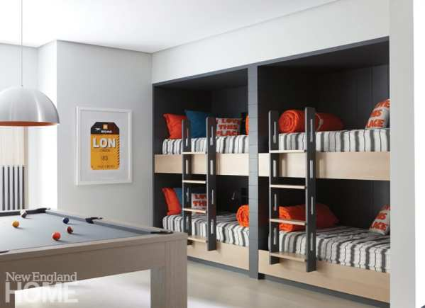 For sheer fun the basement bunk room, with cheery splashes of orange and its pool table, is hard to beat.