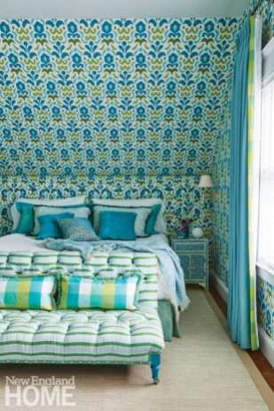 bedroom with blue and green floral wallpaper