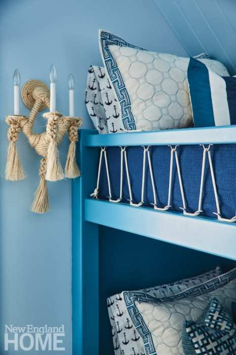 rope detail on blue bunk beds