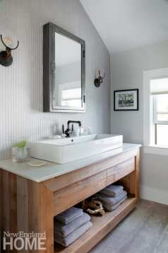 The master bath's vanity of reclaimed barnboard was custom made by an Indiana craftsman.