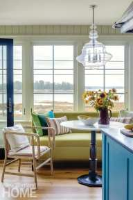 breakfast room with views of water