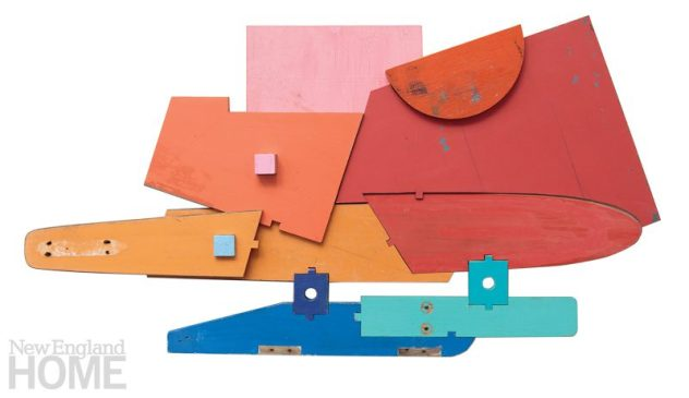 """Sailor's Delight (2016), found painted wood and waterski, 28""""H × 52""""W × 6""""D"""