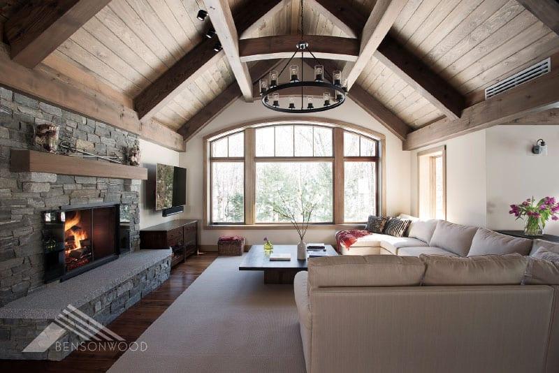 prefab cozy and contemporary great room