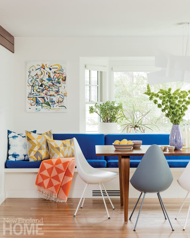 family friendly design blue banquette