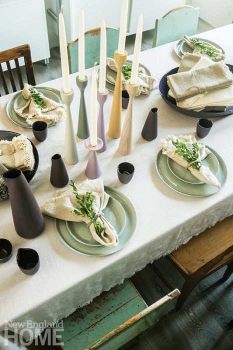 Eleish van Breems Home table setting stacked tables