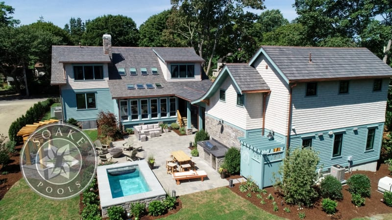 Plunge Pool New England blue and white house aerial view