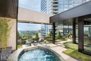 Boston rooftop garden swimming pool