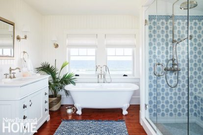 bright maine summer home master bathroom