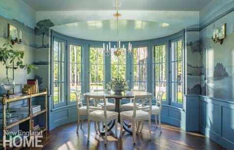 renovated vermont lake house dining room