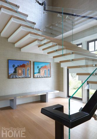 modern riverside home staircase