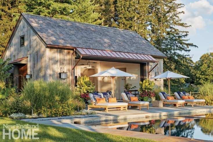 resort-inspired pool house umbrellas