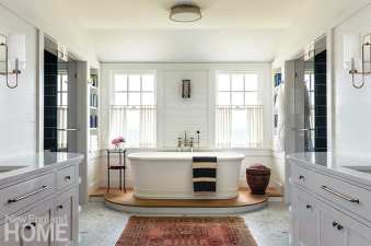 Large bathroom with soaking tub