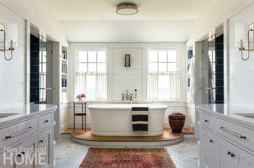 Large bathroom with soaking tub