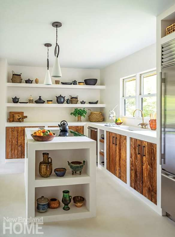 White kitchen with cypress doors