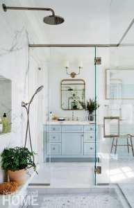 Large master bathroom with walk-through shower