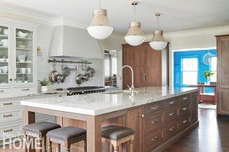 Wood kitchen island with quartzite countertop