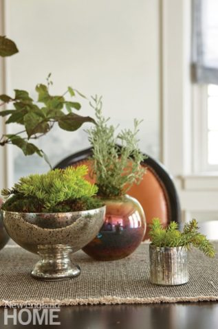 Dining table vignette with plants.