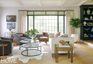 Living room with large window and glass tables.