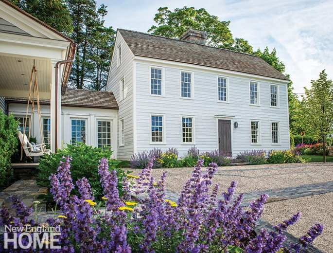 Exterior white colonial house