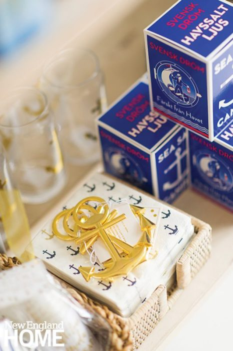 Sea salt candles by Kalastyle with cocktail napkins and bottle openers shaped like anchors