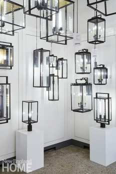 Outdoor lighting, including the iconic Fresno lanterns from Chapman & Myers, makes a graphic statement.