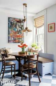 The homeowners chose the abstract artwork by Isabelle Lirakis and the William Morris fabric for the custom throw pillows.