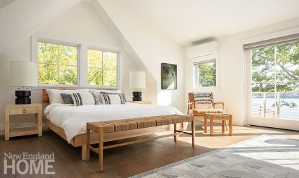 Contemporary white bedroom with cathedral ceiling