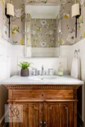 van der Kieft thinks a powder room is a perfect spot for trying a bold wallpaper. She recommends using wainscoting on the bottom of the wall to protect the paper from splashes and other messes.