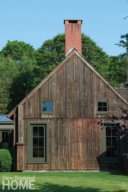 The great room's exterior vertical siding suits its eighteenth-century origins.