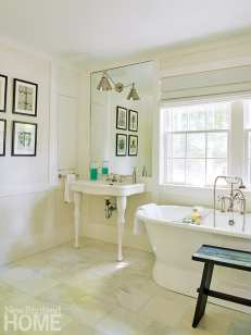 Another addition, which had served as a doctor's office, morphed into the main suite. The new bath features a Randolph Morris tub, Carrara marble flooring, and a Cheviot sink.