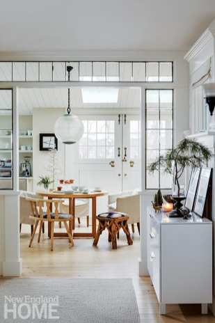Cavallo designed the transom into the kitchen using vintage glass panes she found online at Delphi Glass for five dollars each.