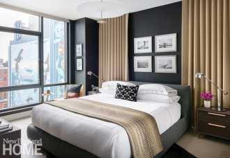 Dark masculine bedroom designed by Trevor Fulmer