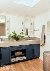 Main bathroom with blue vanity