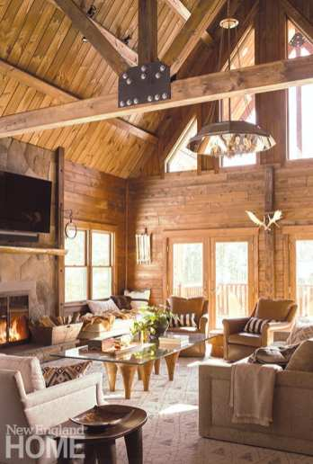 great room with wood panelling