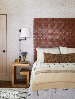 bedroom with woven leather headboard