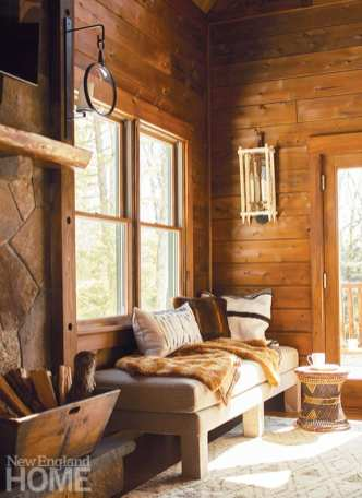 window seat with rustic wood walls