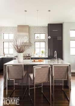 Kitchen with dark wooden cabinetry