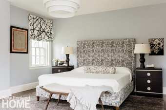 Main bedroom with patterned custom headboard
