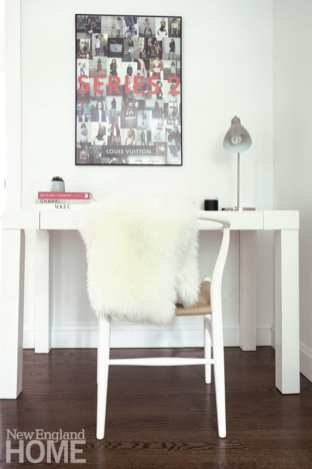 Contemporary white desk with print from a Louis Vuitton exhibit