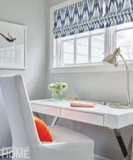 Contemporary white desk and white chair