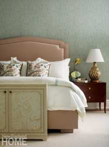A neutral Ferrell Mittman bed rounds out the serene room.