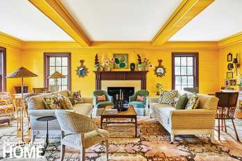 Saturated color draws guests into the resort's intimate parlor room, which seemingly glows.