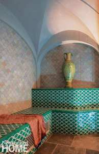 Steam area of a Hammam with mosaic tile.