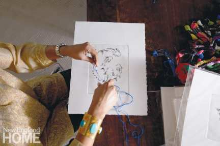 Sayeed enhances her intaglio prints using a perforated-paper-and-embroidery technique.