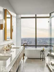 Bathroom overlooking city of Boston