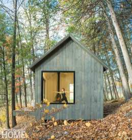 Framed offsite and assembled on the shore of Lake Champlain, this versatile shed provides a haven for personal pursuits in an undisturbed landscape.
