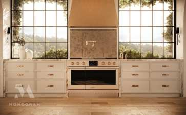 Traditional kitchen with brass details featuring Monogram appliances