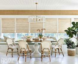 Dining area featuring a Dunes and Duchess table and chandelier