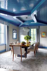 Dining room with paneled blue ceiling